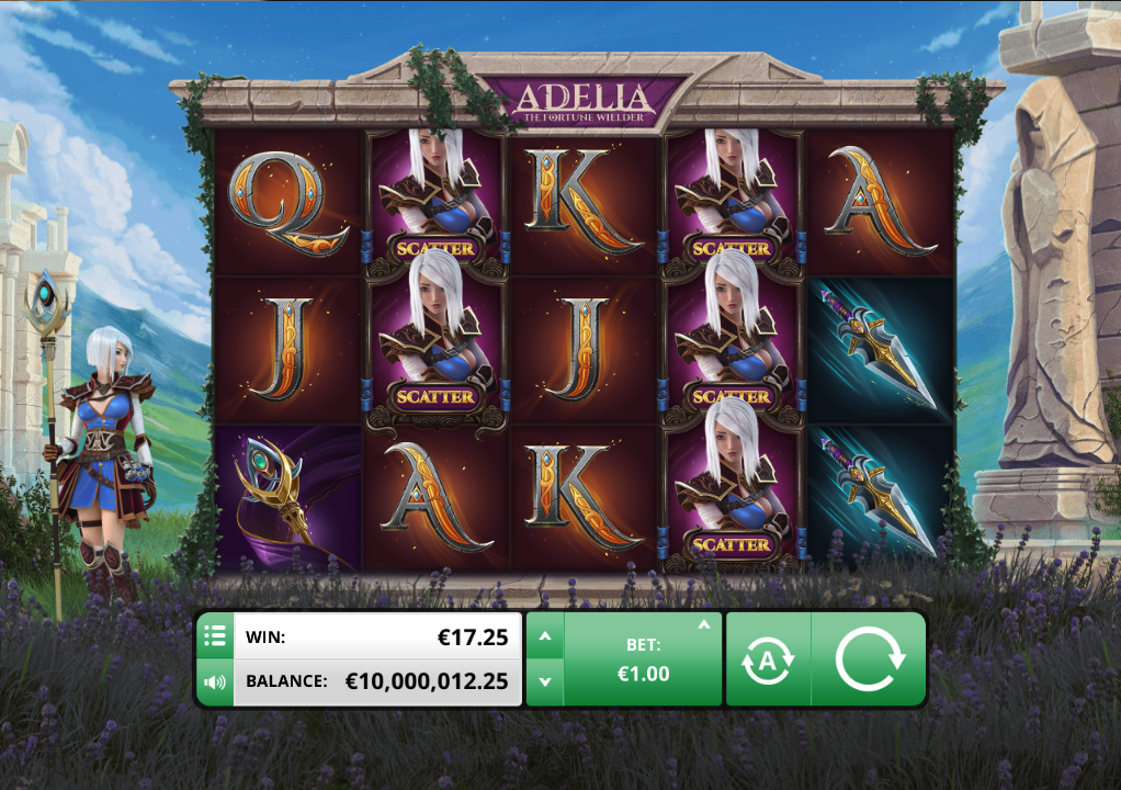 Adelia The Fortune Wielder slot game. Play it now at Happyluke