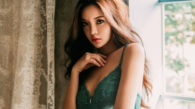 super sexy korean girl in green lingerie